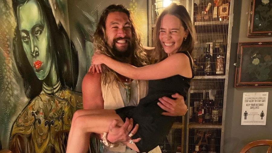 Emilia Clarke e Jason Momoa - Reprodução/Instagram