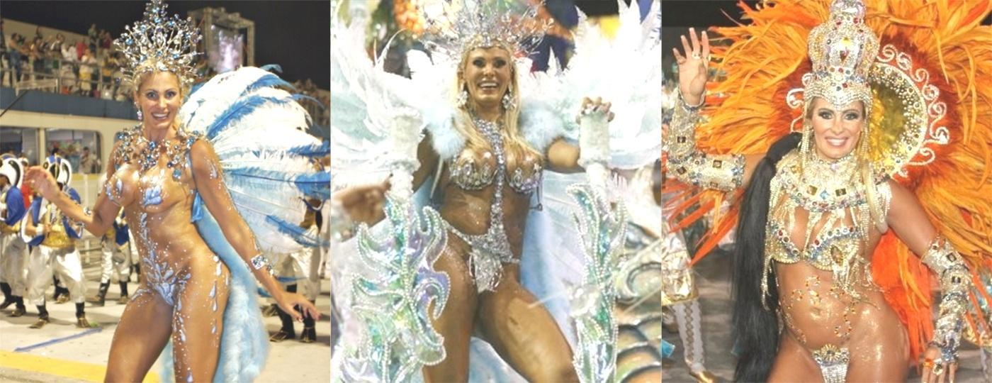 Angela Bismarchi em três momentos: No desfile da Nenê da Vila Matilde (2010), na Pérola Negra (2009) e novamente na Nenê da Vila Matilde (2011) - Glaucielene Felix/Folhapress, Zainane Fraissat/Folha Imagem e Orlando Oliveira/Ag.News