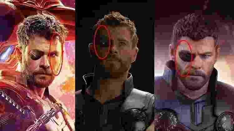 """Thor no pôster de """"Vingadore: Guerra Infinita"""" e em imagens compartilhadas no Reddit - Reprodução / Reddit - Reprodução / Reddit"""