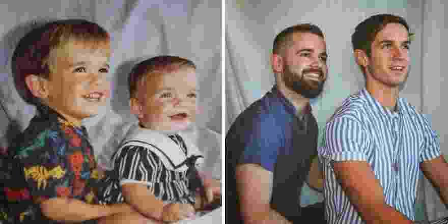 Irmãos recriam foto da infância para aniversário de 50 anos da mãe - Reprodução