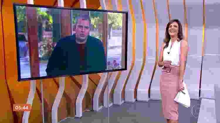 Monalisa Perrone se diverte com o repórter Rodrigo Alvarez - Reprodução/TV Globo