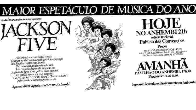 Anúncio de show do Jackson 5 no Brasil publicado em jornais - Reprodução - Reprodução