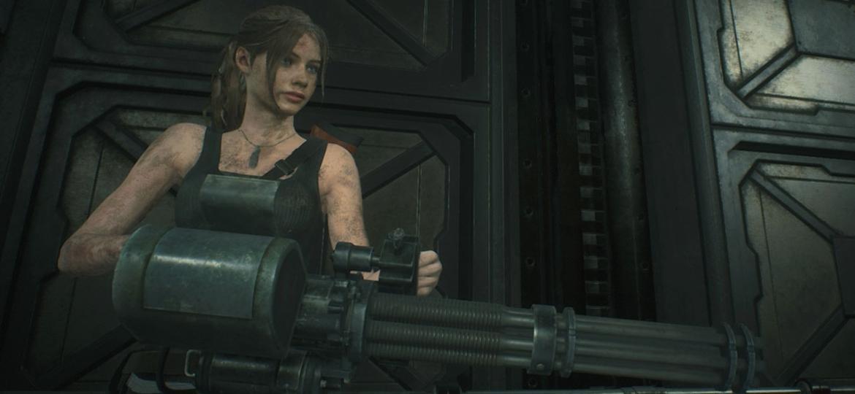 """Claire equipada com a Metralhadora Giratória, uma das armas mais fortes de """"Resident Evil 2"""" - Reprodução/GameHall"""
