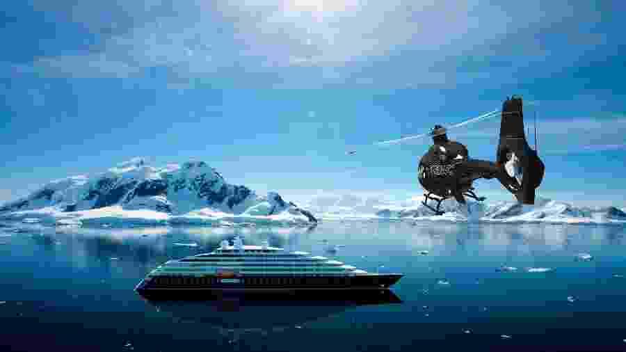 Primeiro iate marítimo da empresa australiana Scenic Luxury Cruises, o Scenic Eclipse  - Divulgação