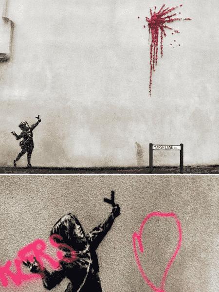 Obra de Banksy é vandalizada na Inglaterra.  - Reprodução