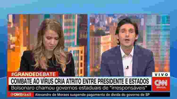 Tomé Abduch interrompe Gabriela Prioli diversas vezes durante o programa 'Grande Debate', da CNN - Reprodução/Twitter