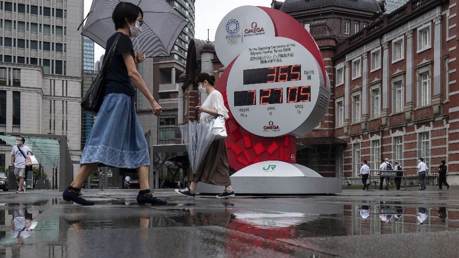 Pessoas passam pelo relógio que faz contagem regressiva para as Olímíadas de Tóquio - Getty Images