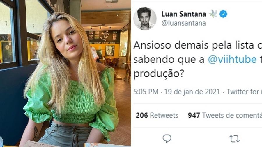 Luan Santana comemorou a participação da youtuber Viih Tube no BBB21 antes da confirmação  - Reprodução/Instagram