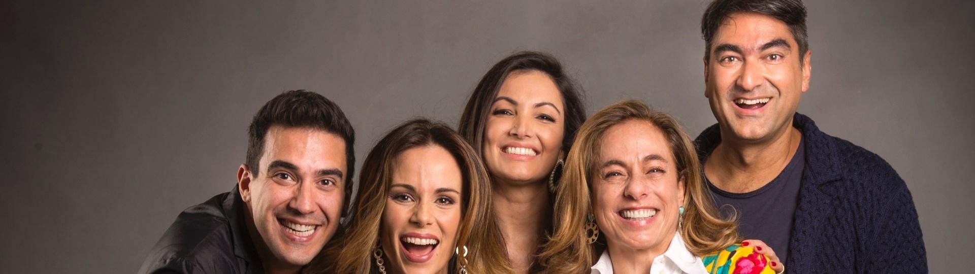 Ana Furtado, André Marques, Cissa Guimarães, Patrícia Poeta, Tiago Leifert e Zeca Camargo apresentam o