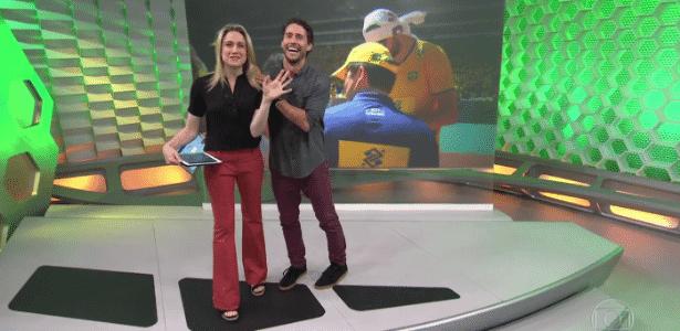 """Fernanda Gentil brinca com Flávio Canto em estreia no """"Esporte Espetacular"""" - Reprodução/TV Globo"""