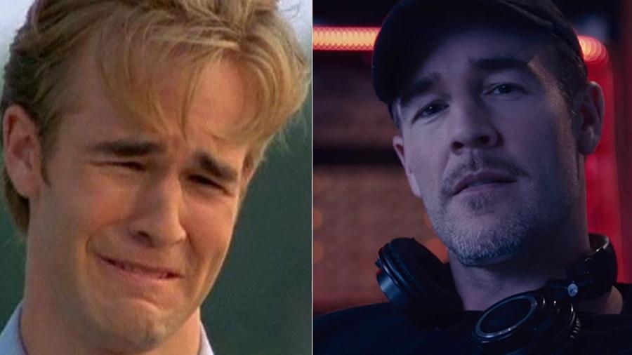 """O ator James Van der Beek em cena de """"Dawson""""s Creek"""" (à esquerda) e como o DJ Diplo (à direita)  - Divulgação"""