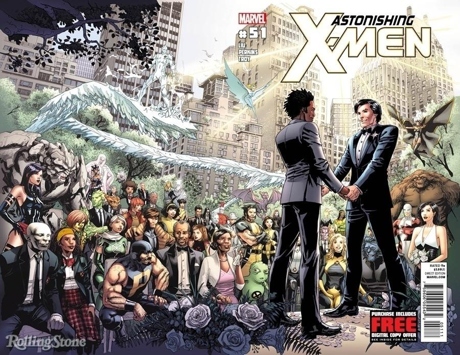 """Estrela Polar se casa com seu antigo namorado, Kyle Jinadu, na edição de número 51 de """"Astonishing X-Men"""", em 2012"""