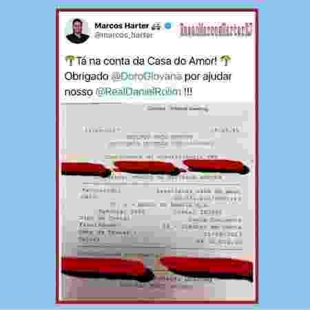 O asilo do ex-BBB Daniel  publicou o comprovante de doação de Harter nas redes sociais  - Reprodução/Instagram@casadoamorrecifepe - Reprodução/Instagram@casadoamorrecifepe