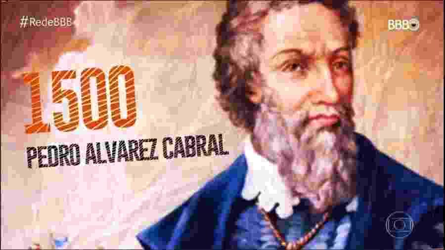 O nome de Pedro Álvares Cabral foi grafado com erro na imagem exibida no programa desta quinta-feira (31) - Reprodução