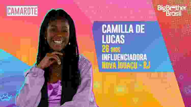 Camilla de Lucas BBB - Divulgação/Globo - Divulgação/Globo