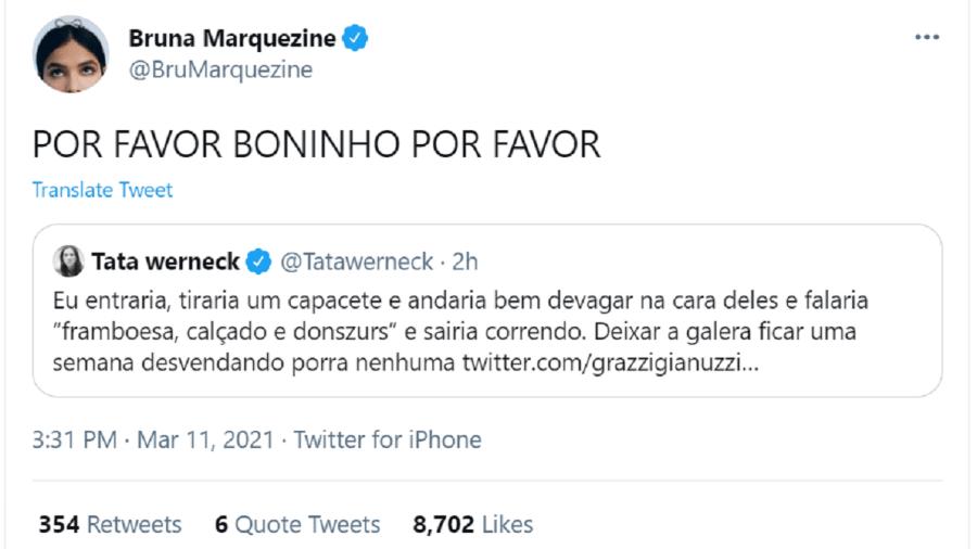BBB 21: Bruna Marquezine responde Tatá Werneck - Reprodução Twitter