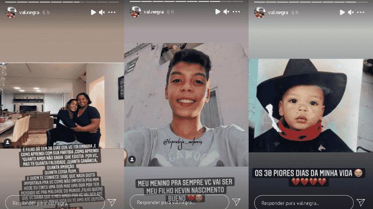 Valquiria Nascimento, mãe de MC Kevin, faz posts em homenagem ao filho - Instagram/@val.negra - Instagram/@val.negra