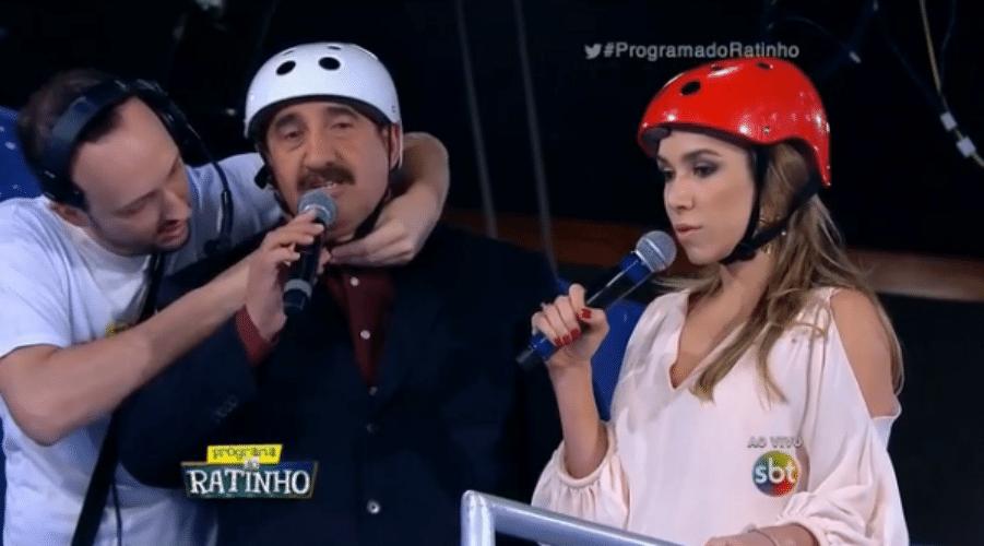 1212.ago.2015 - Ratinho e Patrícia Abravanel, filha de Silvio Santos, fizeram uma aposta e desceram de tobogã durante o