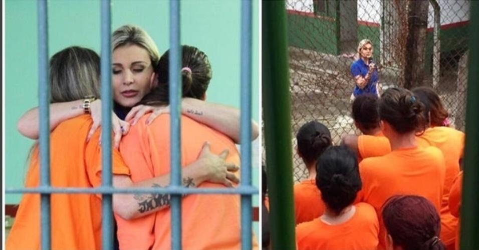 29.set.2015- Andressa Urach conta a sua história e ora com detentas de uma penitenciária feminina de Santa Catarina