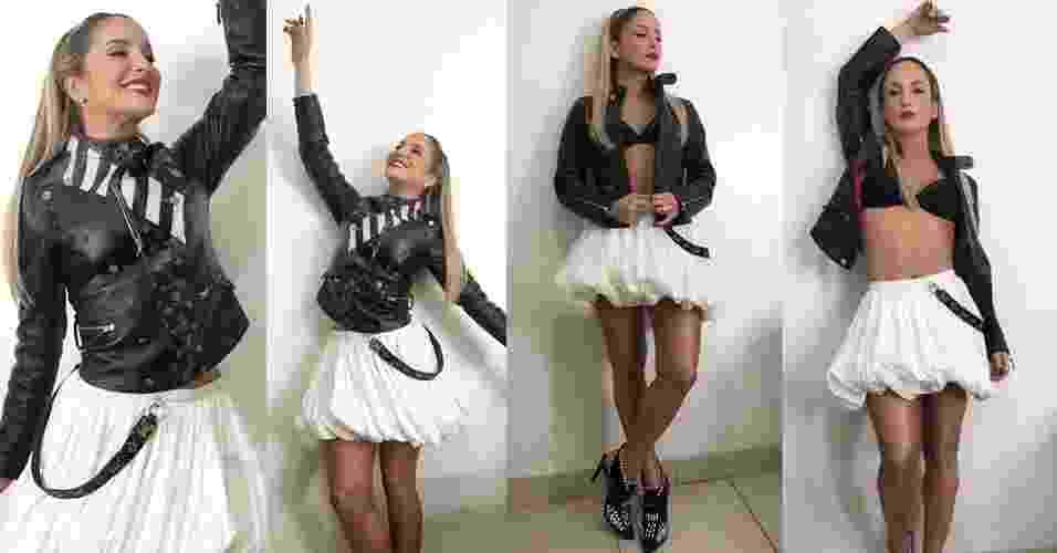 """Claudia Leitte decidiu causar na final do """"The Voice Brasil"""" deste ano, realizada na noite desta quinta-feira (29). O look escolhido foi jaqueta de couro preta, acompanhada por um top da mesma cor, pernas e barriga de fora e saia em tom claro com volume. Cabelo liso, batom vermelho e delineado gatinho completaram o visual - Reprodução/Instagram/claudialeitte"""