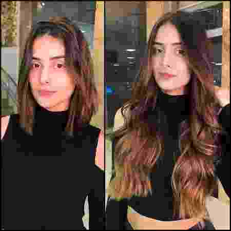 Letícia Almeida mostrou o antes e depois de seu novo look nas redes sociais - Reprodução/Instagram - Reprodução/Instagram