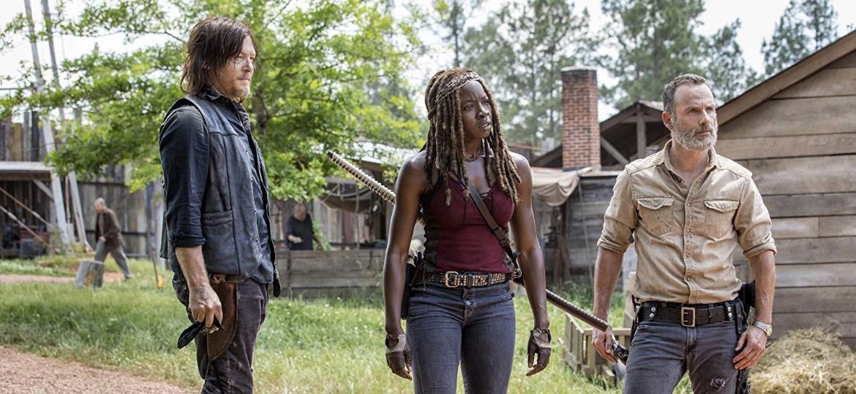"""Daryl (Norman Reedus), Michonne (Danai Gurira) e Rick (Andrew Lincoln) na nona temporada de """"The Walking Dead"""" - Divulgação"""