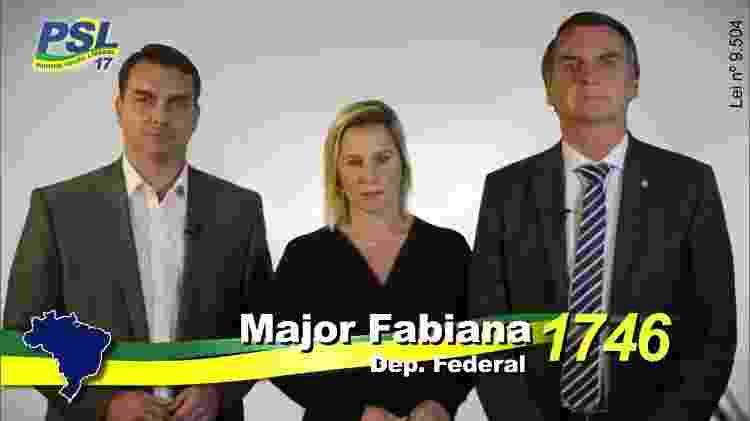 Em campanha, Major Fabiana aparece ao lado do presidente eleito Jair Bolsonaro e Flavio Bolsonaro - Reprodução - Reprodução