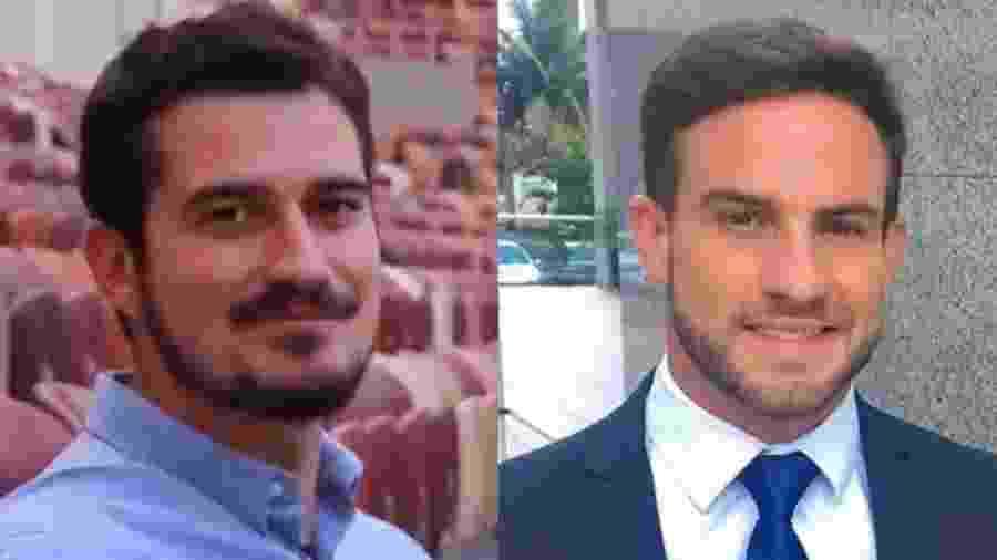 """Pedro Vedova, da Globo, e Daniel Adjuto, do SBT, fazem parte do """"time"""" de repórteres gatos da TV - Montagem/UOL"""