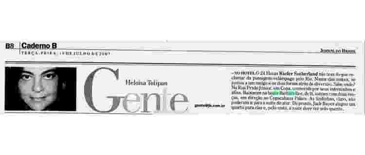 """Recorte do Jornal do Brasil que fala sobre a passagem de Kiefer Sutherland, de """"24 Horas"""", pela Barbarella - Reprodução - Reprodução"""