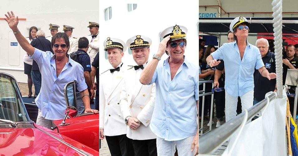 20.jan.2015 - Usando quepe de marinheiro, Roberto Carlos posa para fotos ao embarcar em navio no Porto de Santos