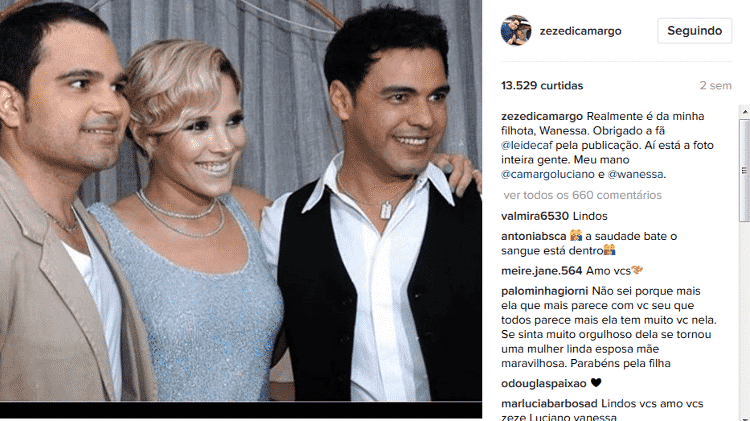Zezé Di Camargo compartilha foto antiga com Wanessa - Reprodução/Instagram/zezedicamargo - Reprodução/Instagram/zezedicamargo