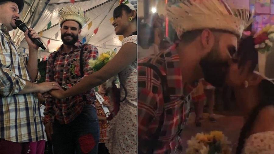 Gleici Damasceno e Wagner Santiago se casam em festa junina - Montagem/UOL/Reprodução/Instagram