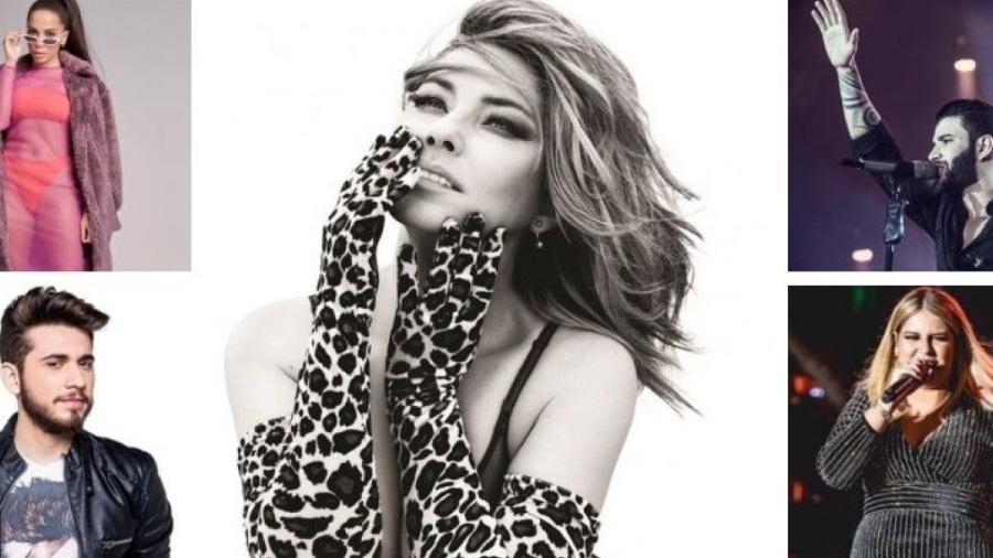 Sentido horário: Anitta, Shania Twain, Gusttavo Lima, Marilia Medonça e Gustavo Miotto - Montagem UOL