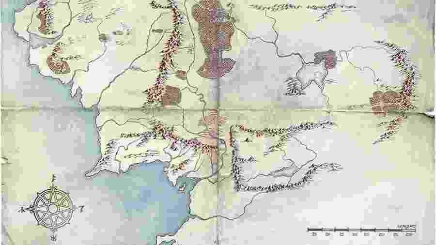 O mapa da Terra Média, segundo a Amazon - Reprodução/Twitter