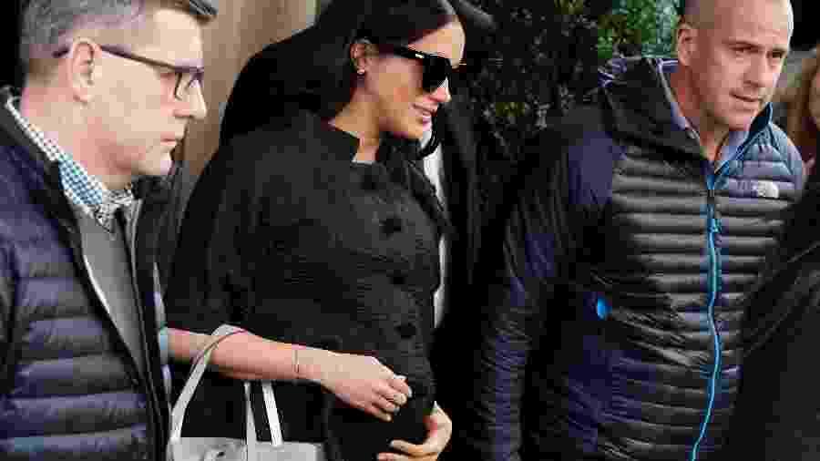 Meghan, a duquesa de Sussex, na saída do The Mark Hotel - Reuters