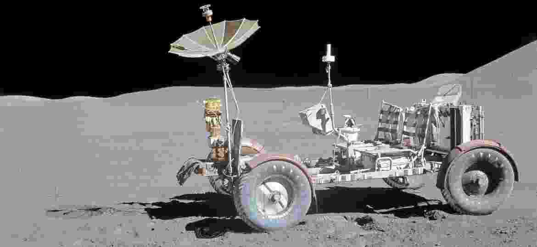 Jipe usado em 1971 na Missão Apollo 15 é um dos três exemplares que até hoje repousam no satélite terrestre - AFP
