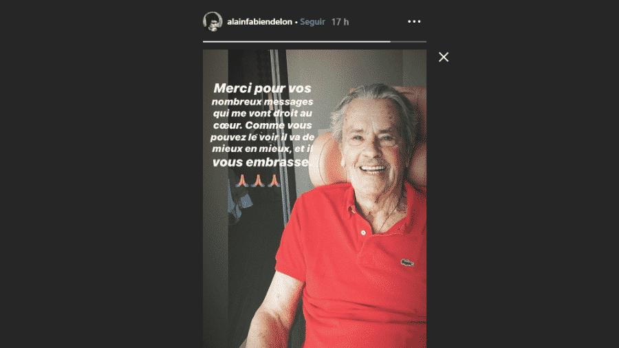 Filho de Alain Delon diz que pai está cada vez melhor - Reprodução/Instagram