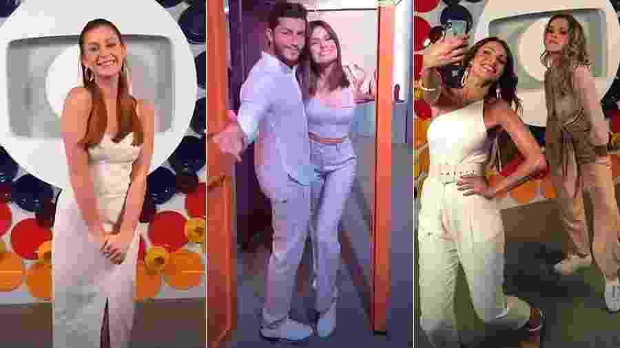 Marina Ruy Barbosa, o casal Klebber Toledo e Camila Queiroz e Ingrid Guimarães gravam vinheta na Globo - Reprodução/Instagram