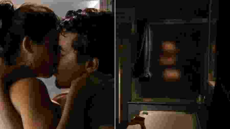 Suellen (Isis Valverde) e Leandro (Thiago Martins) transam no chuveiro em Avenida Brasil - Montagerm/UOL/Reprodução/TV Globo