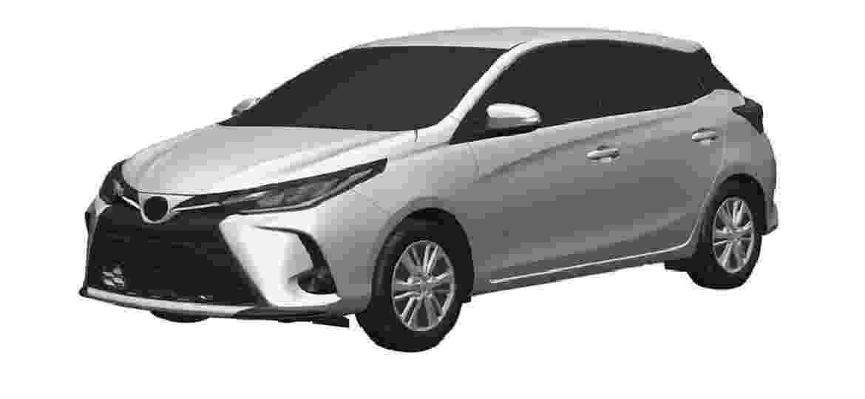 Desenhos registrados pela Toyota indicam mudanças no Yaris - Reprodução