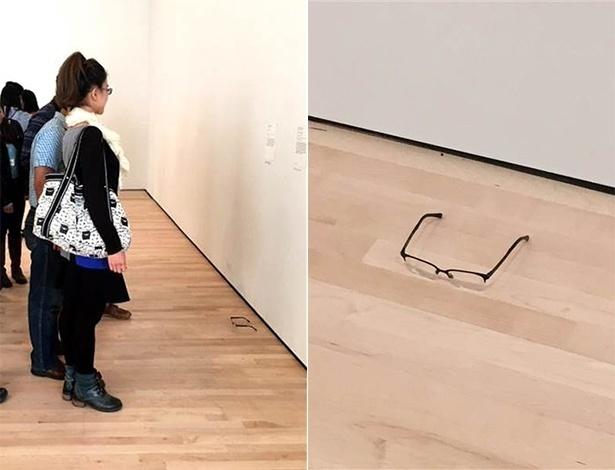 Visitantes param para observar óculos colocados no chão em museu de São Francisco - Teejay/Facebook/Montagem UOL
