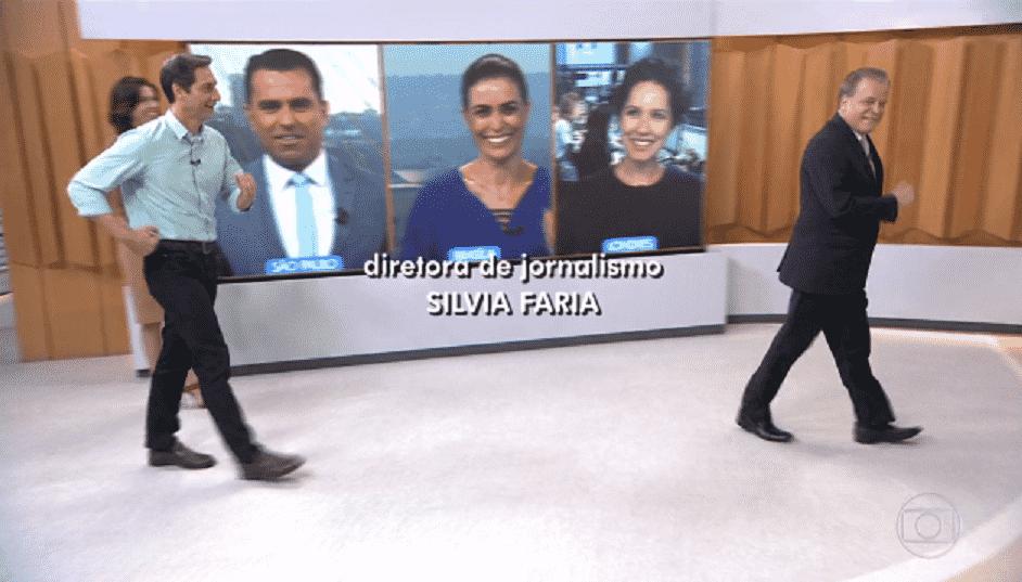 """1.jun.2016 - Os jornalistas Chico Pinheiro e Ernesto Lacombe encerraram a edição desta quarta-feira (1) do """"Bom Dia Brasil"""", da Globo, fazendo a marcha atlética - Reprodução/TV Globo"""