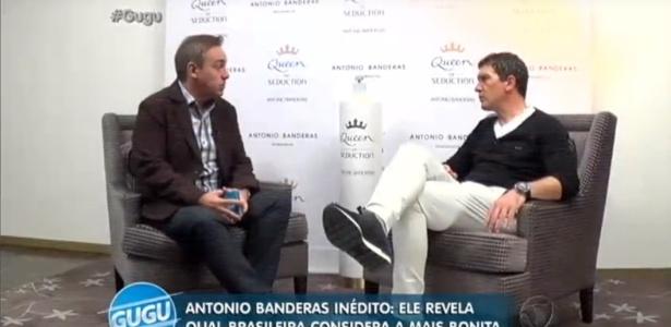 """20.jul.2016 - Antonio Bandeiras fala sobre a beleza das mulheres brasileiras em entrevista ao """"Programa do Gugu"""" - Reprodução /Rede Record"""