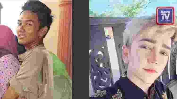 """O """"antes e depois"""" de Amirul Rizwan Musa mostra que sua aparência passou por mudanças profundas; ele diz ser constantemente alvo de críticas por sua decisão - Reprodução"""