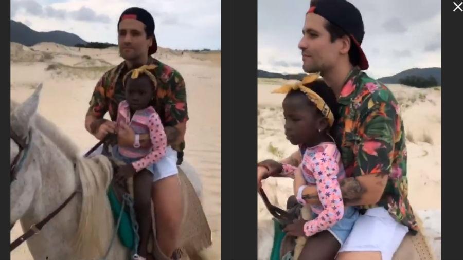 Bruno Gagliasso e a filha, Títi, andam a cavalo - Reprodução/Instagram