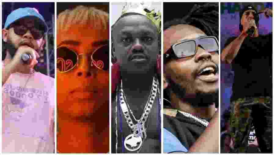 Emicida, Alt Niss, Djonga, Rincon e Mano Brown são atrações do Festival Sons da Rua - Montagem/UOL