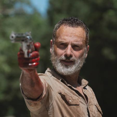 """Rick (Andrew Lincoln) em sua despedida de """"The Walking Dead"""" - Gene Page/AMC/Divulgação"""