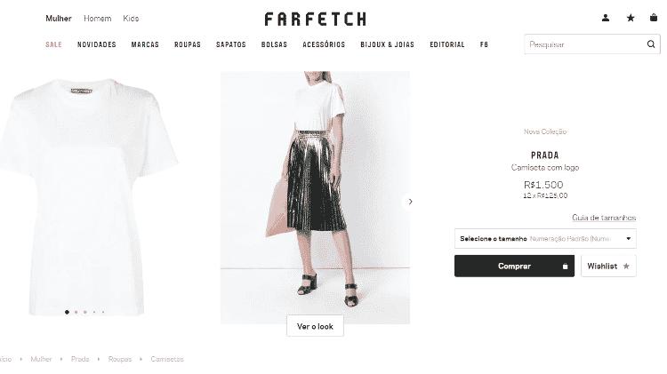 Camiseta branca Prada - Reprodução/Farfetch - Reprodução/Farfetch