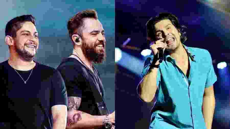 Jorge e Mateus ao lado de Luan Santana - Divulgação/Agnews/Montagem UOL