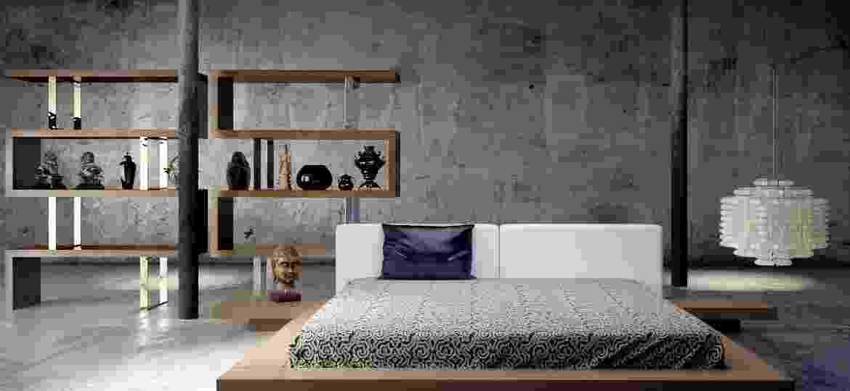 Quarto com parede pintada no efeito de cimento queimado - Reprodução/Pinterest